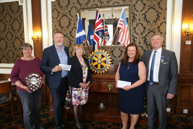 Greenock Rotary Club at Tontine Hotel 2019 end of year charity cheques to Mind Mosaic and The Haven in Kilmacolm. Pictured, from left, are club member Jennifer Boag, Gary Lister, from The Haven, new president Ann Thomson, Sandra Boyle, from Mind Mosaic, a