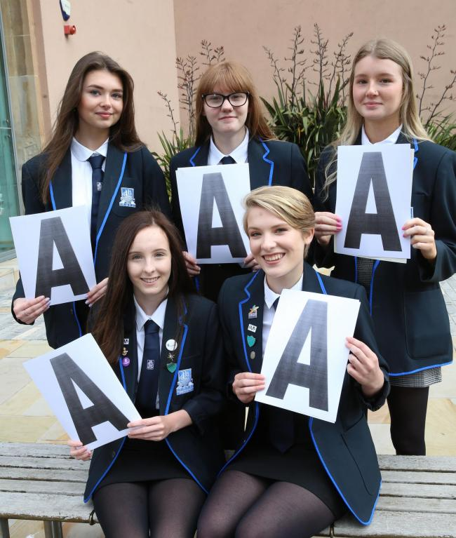 Port Glasgow High school record straight A pupils, who achieved perfect results in their fifth year Highers. Back row, from left, Sophie Marshall, Erin McCafferty, Abigail Allison, and, front row, Sarah Harrison and Katie Nawrath.