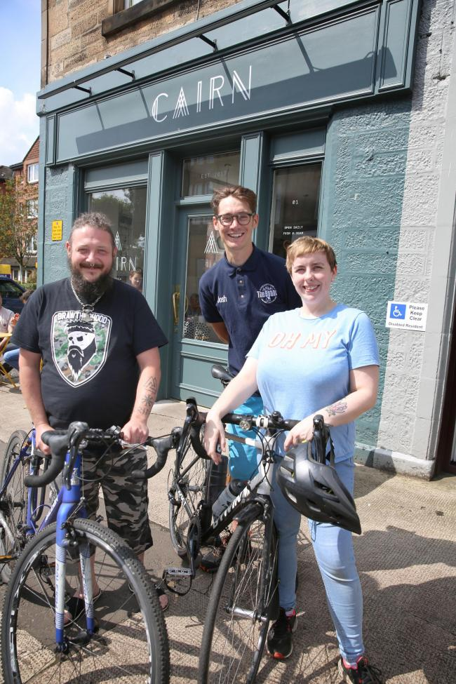 Cairn Cafe, Kilmacolm Bike Friendly. Chris McCann, left, is pictured with Ruth Quigley.