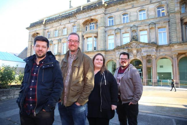 ELIM TEAM: Paul Martin, assistant Pastor, Fraser Donaldson, Pastor, Lesley Jackson, i58 and Andrew McAlees, Inverclyde Foodbank.