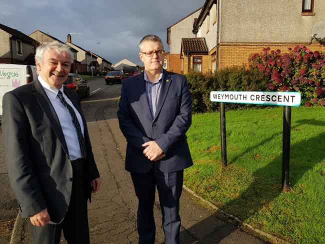 Cllr John Crowther and Stuart McMillan MSP at Weymouth Crescent