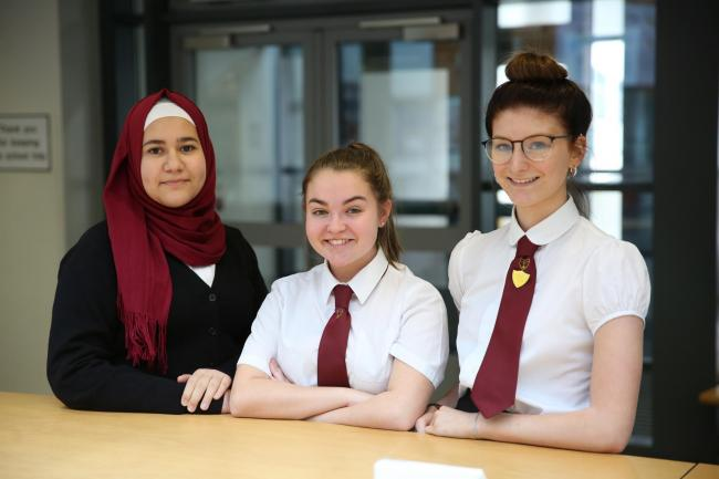 Acheivers at Inverclyde Academy. Hasna Ayoub, Ailie Gray  and Ellie Morrison