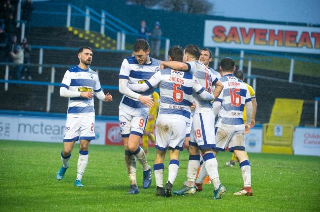 Reghan Tumilty, far left, celebrates with his team-mates during Morton's win over Dunfermline.