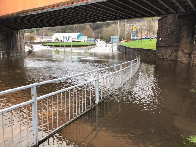 The scene at the rail bridge at Woodhall in Port Glasgow. Picture by George Munro