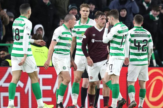 Hearts' Marcel Langer (centre) was sent off against Celtic