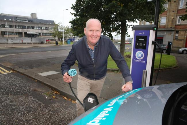 Michael McCormick electric vehicle charging points Sation Avenue, Greenock.