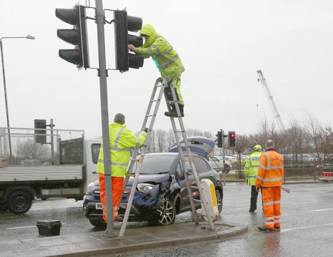 Car Crash A8 at Pottery Street, Greenock. Car crashes into traffic lights A8..