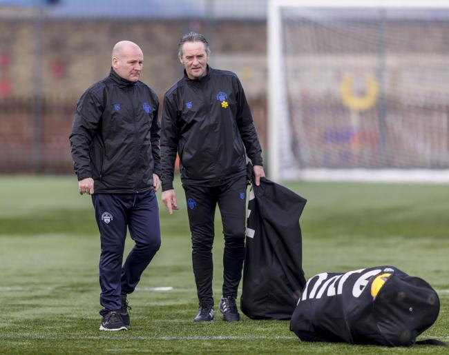 15.05.2021  Greenock Morton training at Battery Park ...................  GUS MCPHERSON AND ANDY MILLEN.