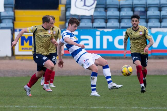 Luca Colville and Declan McDaid in last Saturday's 1-1 draw between Morton and Dundee.