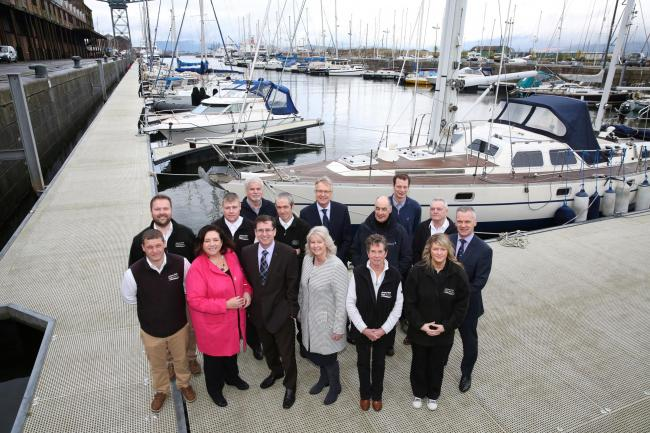 New James Watt Dock Marina operators Marina Projects with staff and Riverside Inverclyde board members.