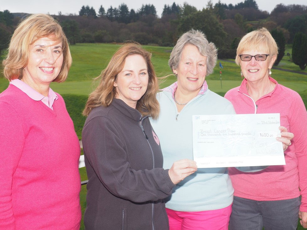 From left, committee member Libby McGloin, Lyndsay Campbell, Breast Cancer Now community fundraising manager for Scotland, Fiona Phillips and Lady Captain Morag Cowe.