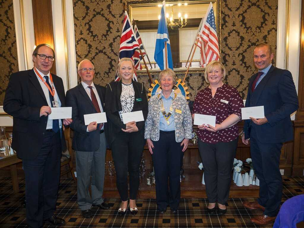 From left Peter Pringle, West College Scotland, John MacLeod, Disaster Aid UK and Ireland, Cara Inglis, Macmillan Nurses, President Ann Lockhart, Morag Dorrian, Erskine Home and Ian Marshall of Ardgowan Hospice.