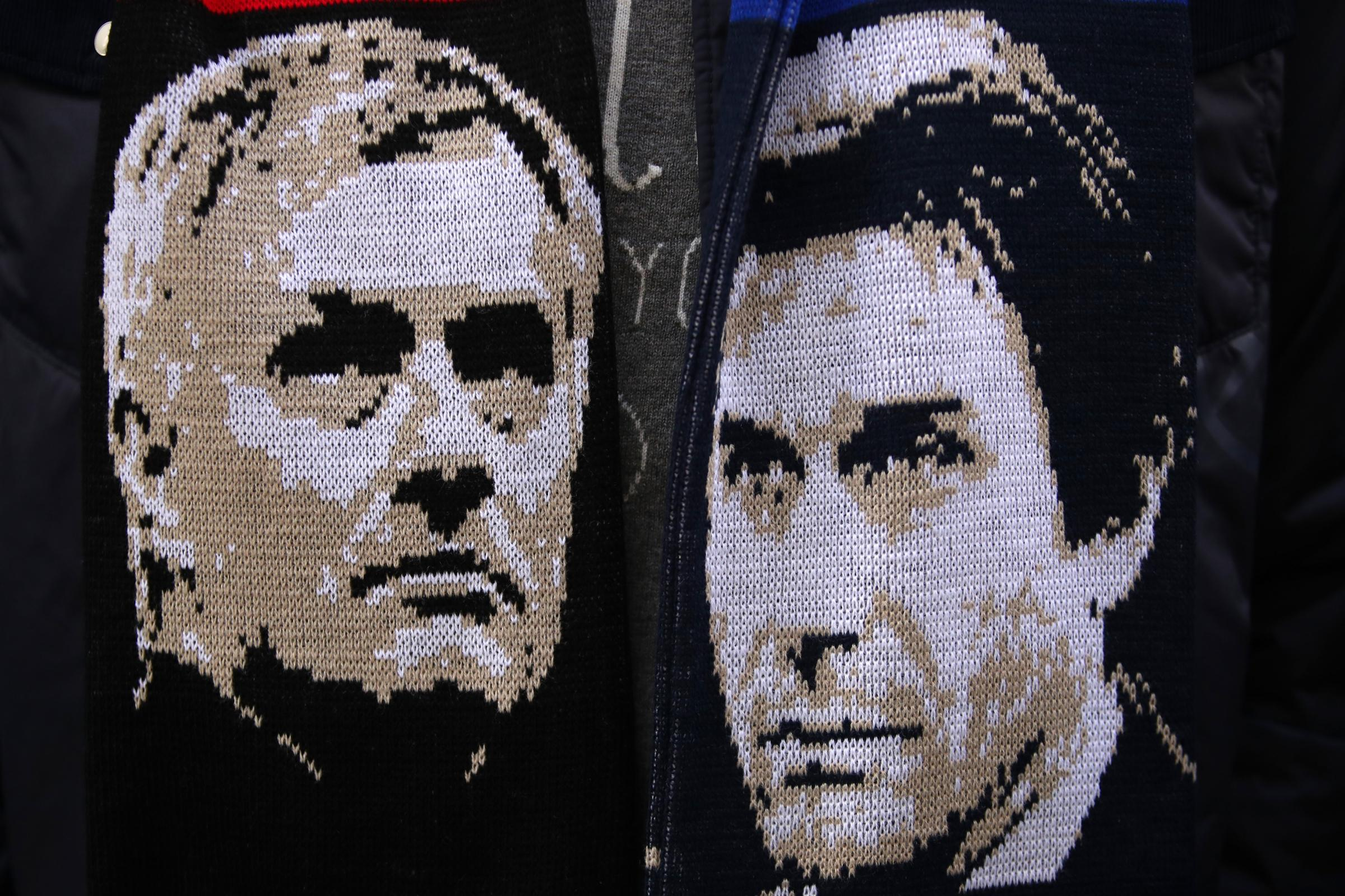A general view of Chelsea manager Antonio Conte and Manchester United manager Jose Mourinho depicted on a scarf before the Premier League match at Stamford Bridge