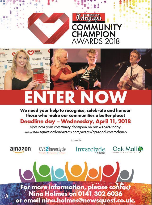 2018 Community Champion Award categories