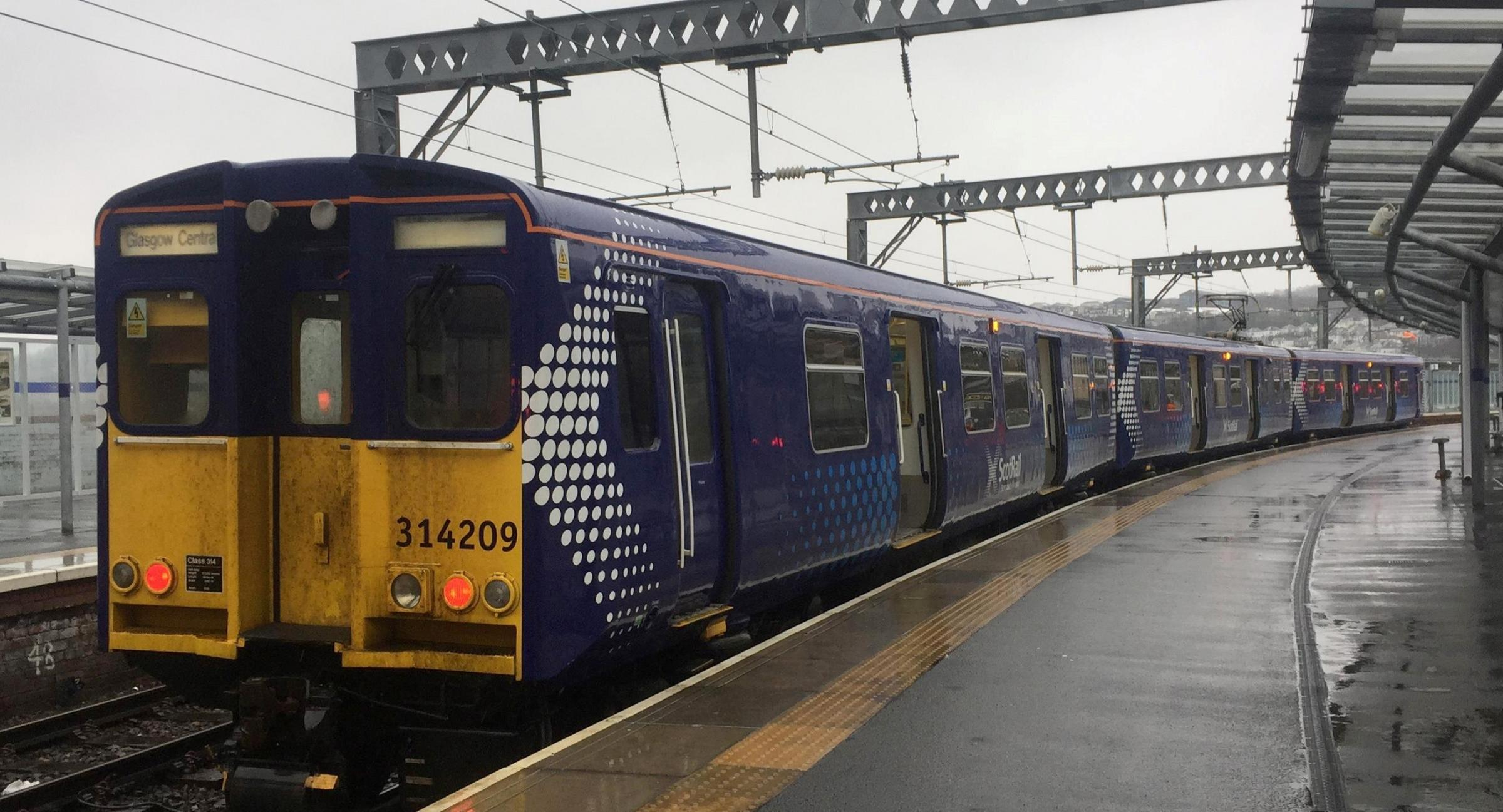 Old Class 314 rolling stock at Gourock train station which is one of many in use on the Inverclyde lines. Local Labour activist Alan Holliday has launched a petition for them to be removed following public and political backlash.
