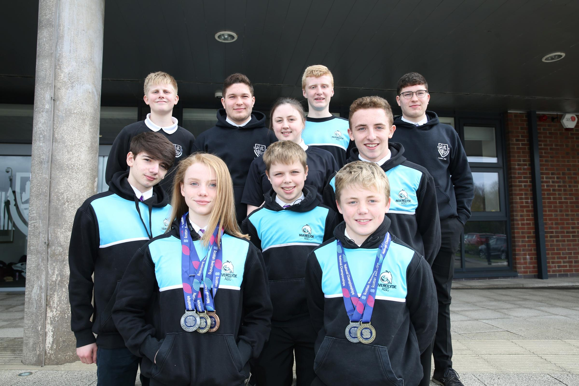 Clydeview Academy swimming champions.