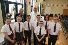 St Michael's Primary School in Port Glasgow 60th anniversary. Pictured are pupils with Provost of Inverclyde, Martin Brennan, and former school chaplain, Bishop Brian McGee, who is from Greenock.