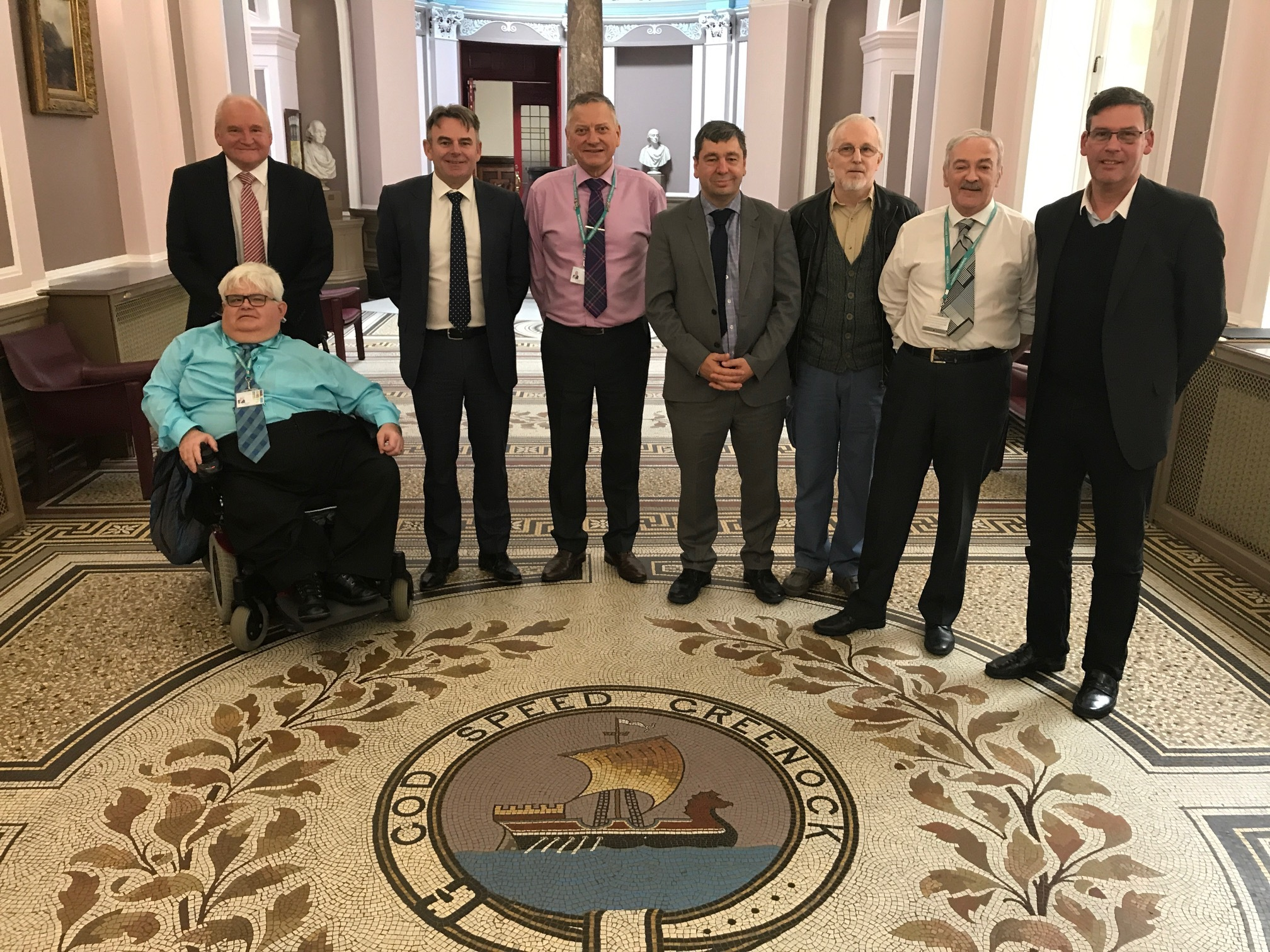 Representatives from Peel Ports and Cammell Laird meeting with Inverclyde councillors in Greenock to discuss Inchgreen Drydock. From left, Councillor Jim MacLeod, Mike Moran, director of Cammell Laird, John Syvret, chief executive of Cammell Laird, Counci