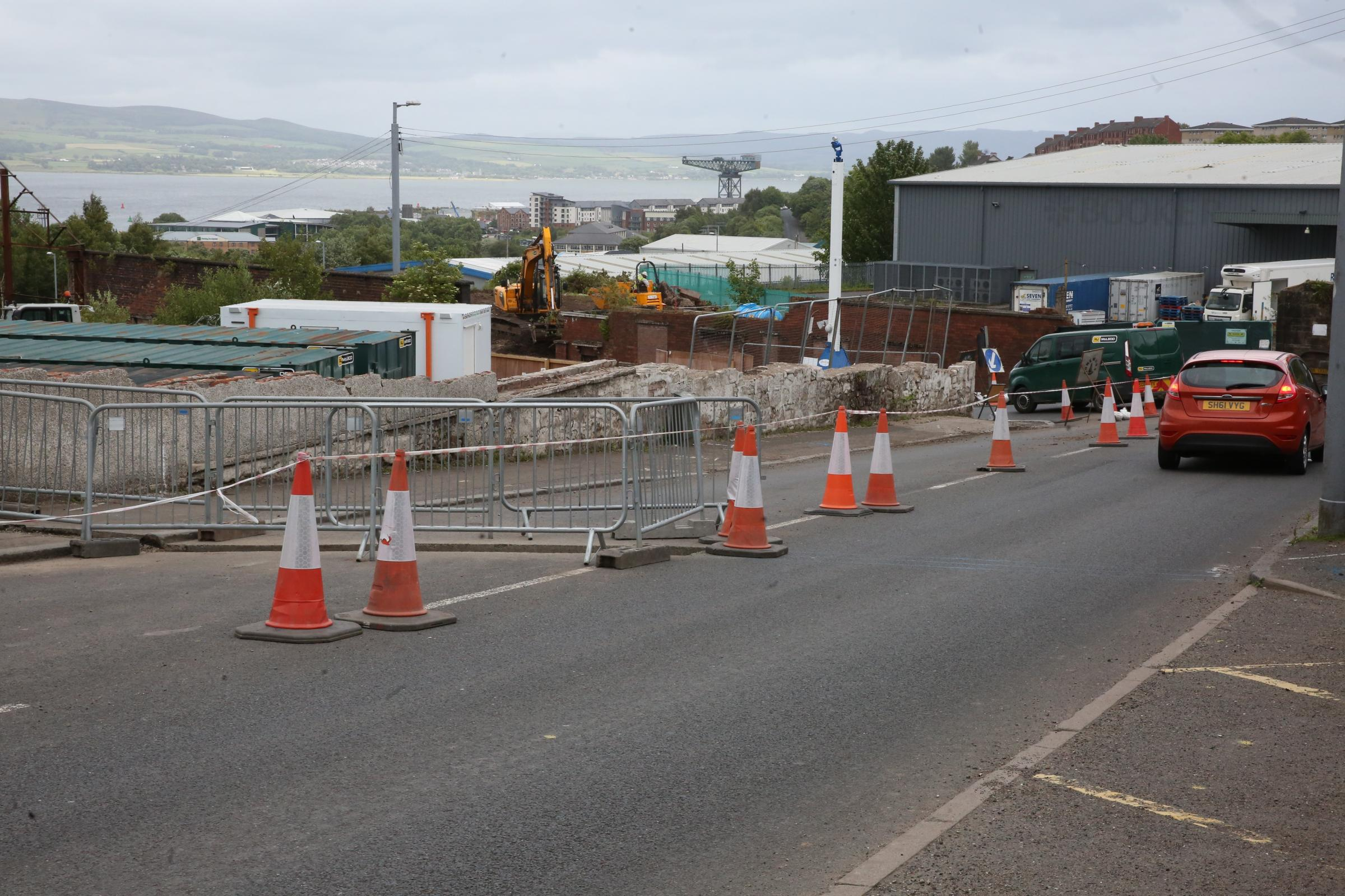 Ongoing roadworks at Baker's Brae and Drumfrochar Road, Greenock.