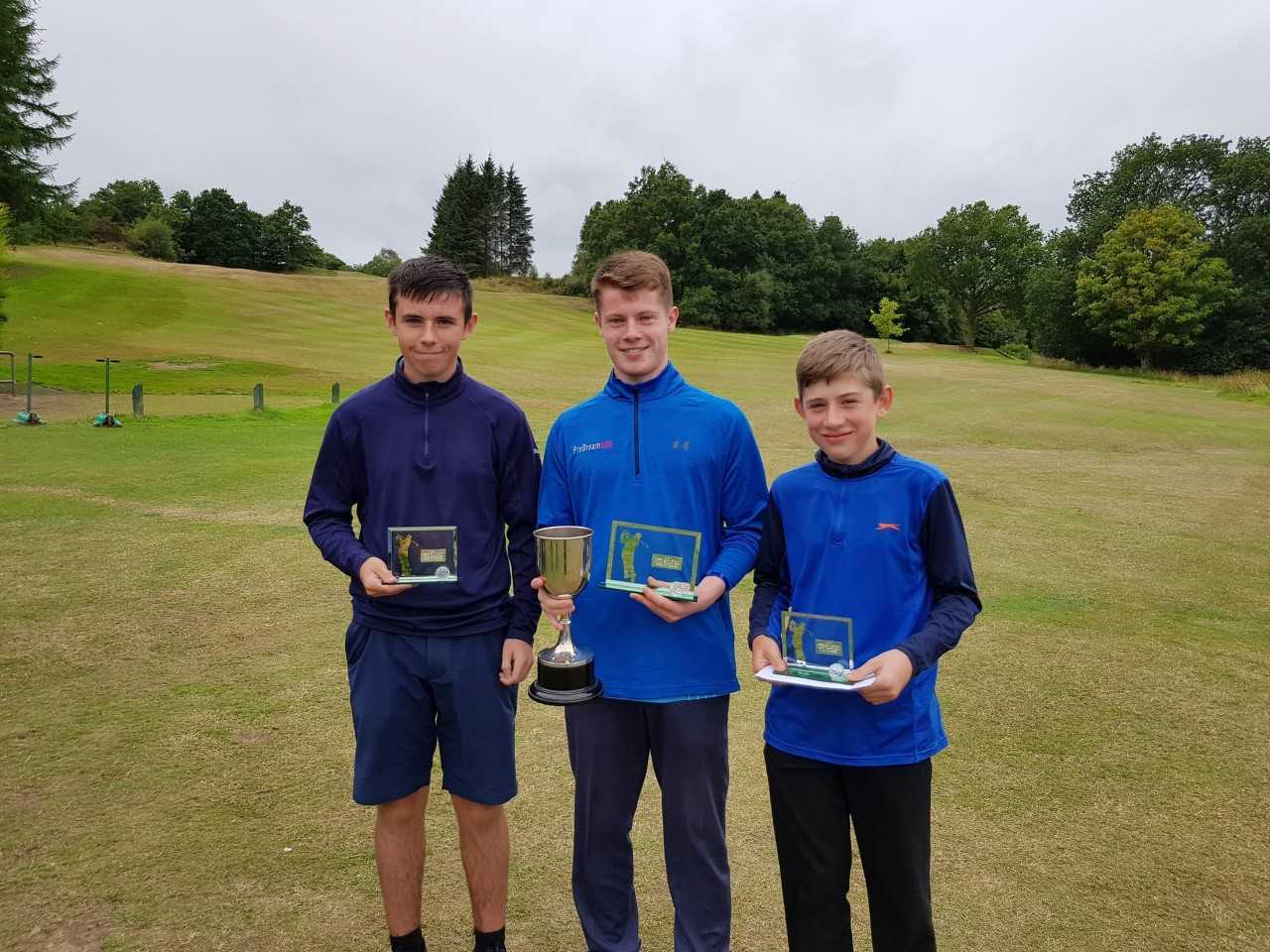 Pictured are Ross McKay (Handicap Winner - Gourock GC), Patrick McCartney (Scratch Winner - Greenock GC) & Alistair McNeill (Under 15s Winner - Skelmorlie GC).