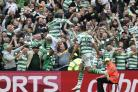 Olivier Ntcham, left, celebrates netting the winner in the Old Firm derby