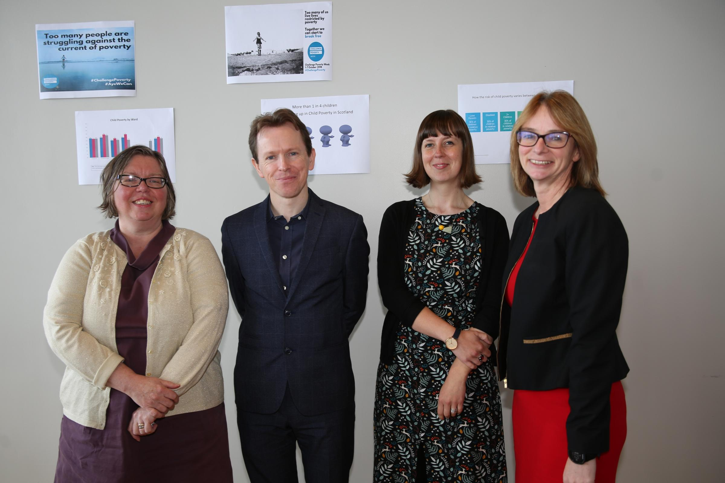 End Child Poverty conference at Beacon Arts Centre in Greenock. From left, keynote speakers: Dr Rosie Ilett, Glasgow child poverty co-ordinator, Child Poverty Action Group (CPAG) in Scotland; Dr Stephen Sinclair, Scottish Poverty and Inequality Research U