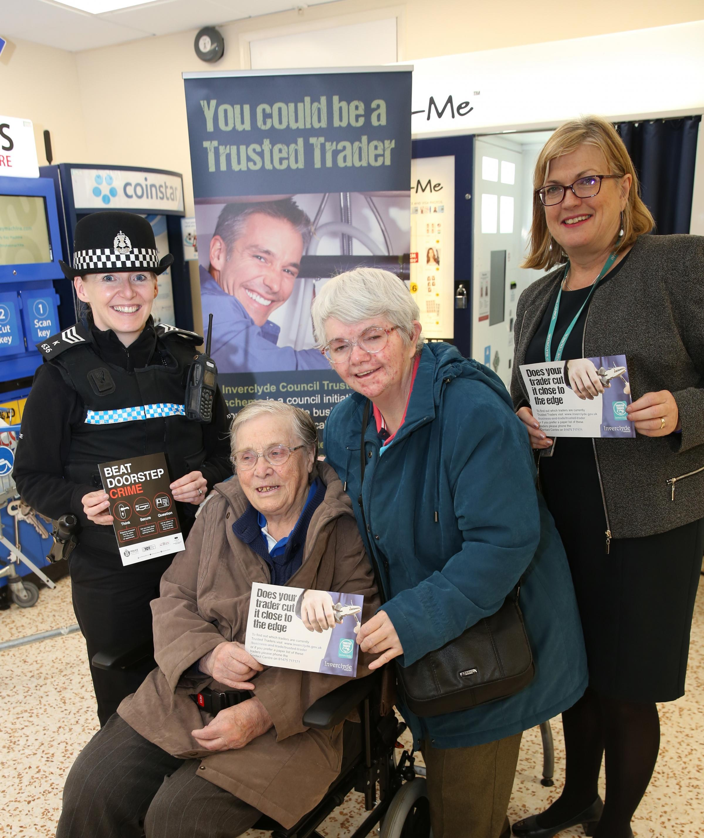 Police and Trading Standards Trusted Trader Scheme and Beat Doorstep Crime campaign at Morrisons in Greenock. Pictured from left, Sergeant Laura Stewart, Mary Heron, Margaret Jinks and Veronica McGinley, Trading Standards and enforcement team leader.