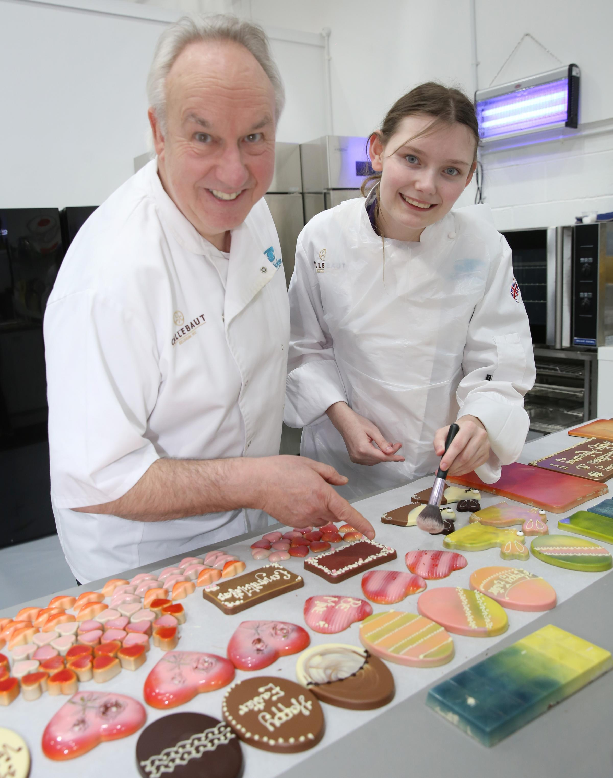 The New Chocolate Company in Port Glasgow. Craigmarloch School pupil Chloe Swinney, 15, was invited to the factory by owner Brian Dick.