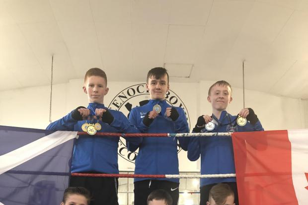 Greenock Boxing Club medal winners. Back row, from left, Luc McCavanagh, Maison Docherty, Andrew McClure, with, front row from left, Marcus Latham, Lewis Boyle and Liam Kelly..