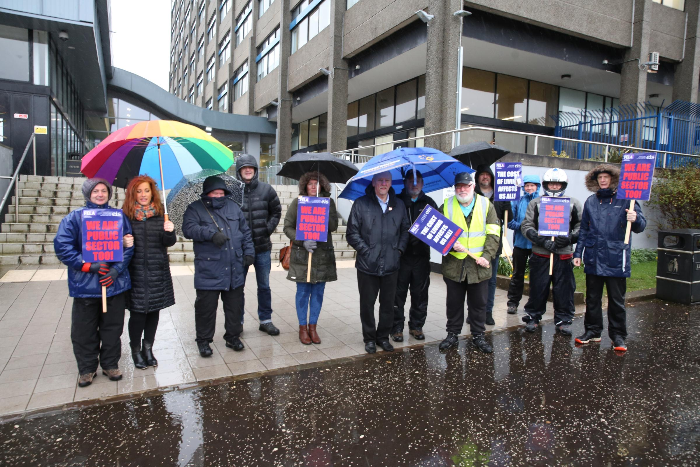 West College Scotland Finnart Street campus in Greenock lecturers on strike.