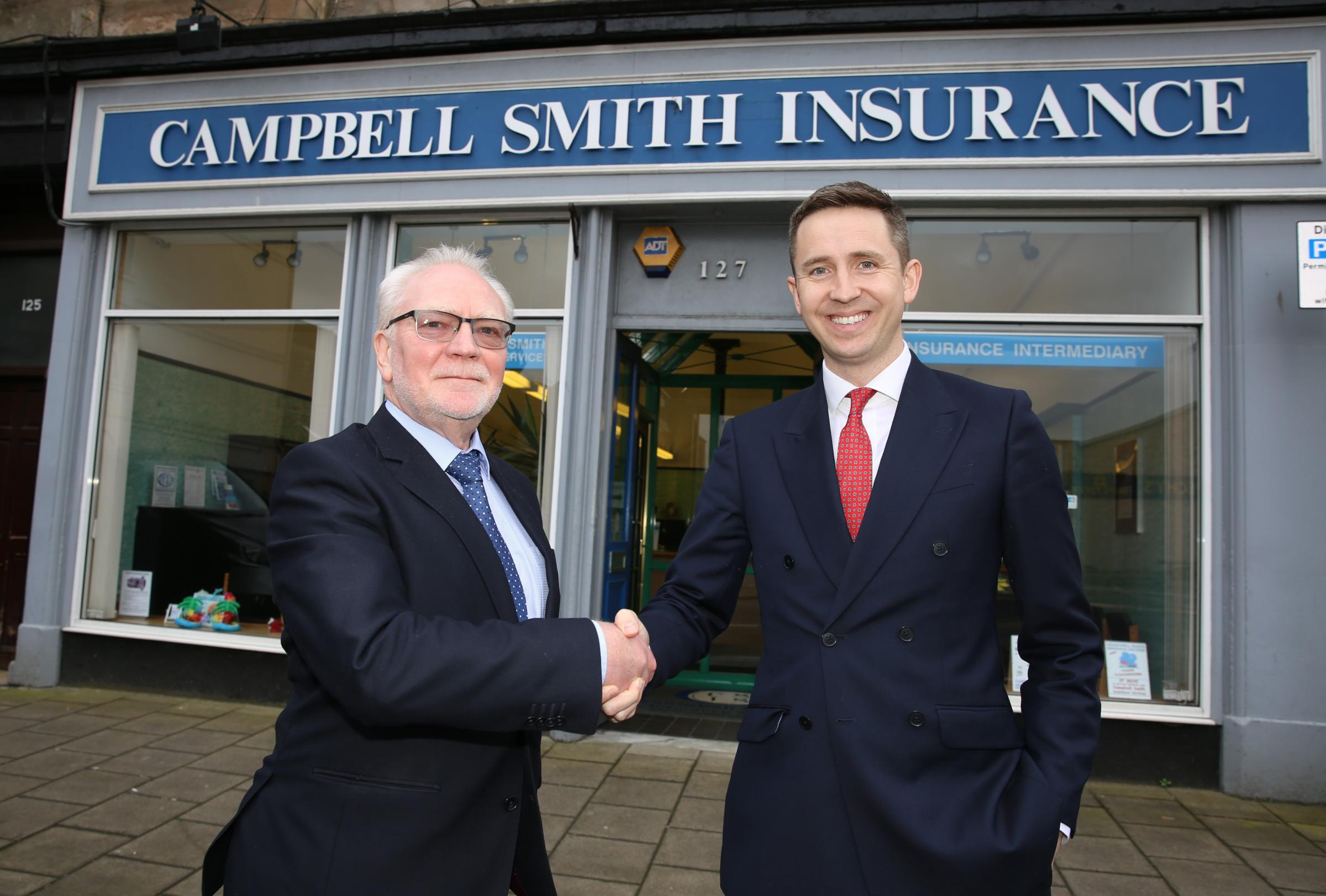 Campbell Smith Insurance changes hands. Founder Willie Smith with Andrew Weir, managing director of new owners Greenwood Moreland.