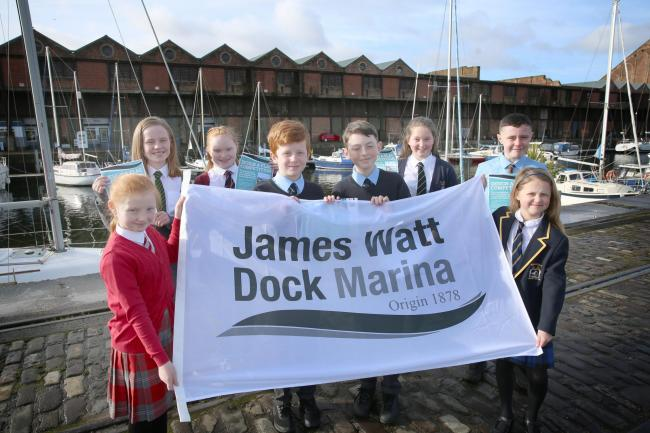 James Watt Dock Marina flag design challenge. From left, Leigh McCallum, of Inverkip Primary, St John's pupil Molly Gault, Ella Nicolson, who attends St Michael's, St Ninian's pair Jacob Brolly and Rory Hurrell, Poppy Galbraith, of Gourock Pri