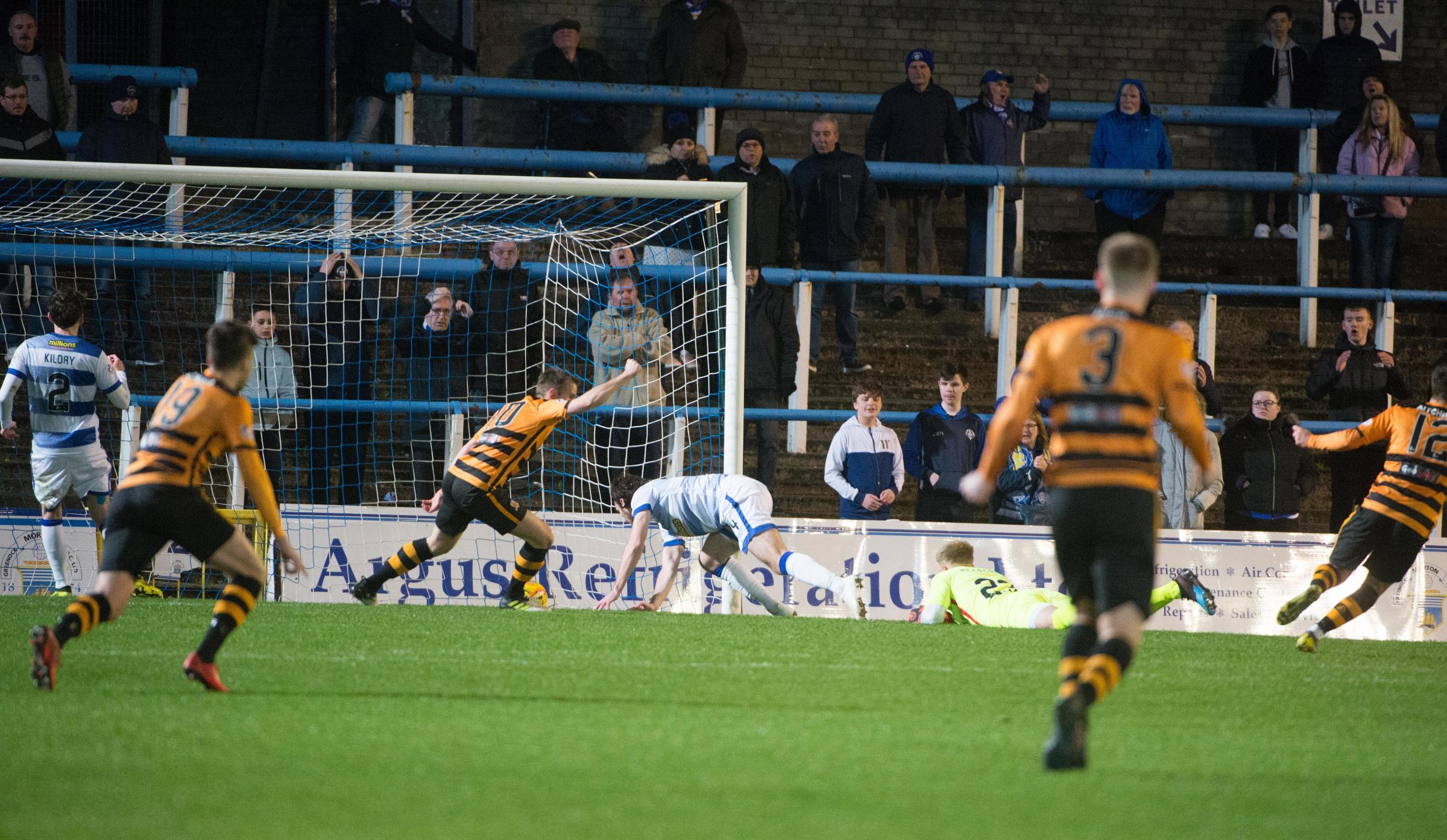 Jack Hamilton secures the points for Alloa at Cappielow.
